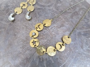 vintage necklace star and moon <NC-STMN1>