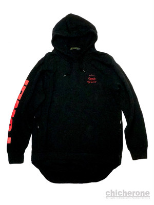 【chi che ro】r.Power layered pulloverparka T/S  Black x RED