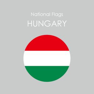 円形国旗ステッカー「ハンガリー」