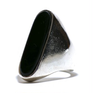 Vintage Sterling Silver Mexican Long Oval Onyx Ring