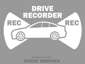 ●REC 前後録画 ドラレコ ドライブサイン REC DRIVE RECORDER 車 セダン 搭載車 録画中 撮影中 ドライブレコーダー ステッカー カッティングシート シール 車に貼れる 監視 防犯 白 ホワイト【sti07211whi】