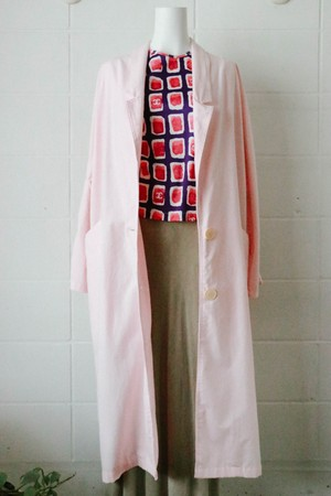 80s light pink long coat