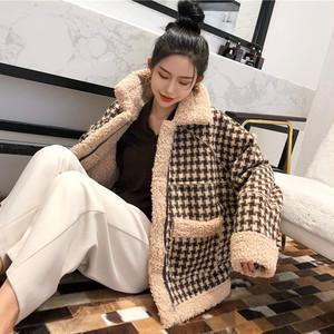 【アウター】着心地良いファッション折り襟切り替えジッパーチェック柄ダウンコート35173928