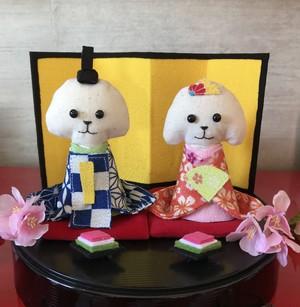 ワンコ雛人形(白トイプー)