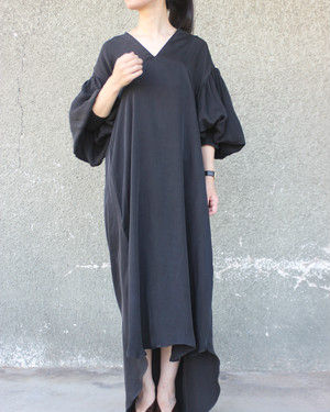 Leg of mutton dress (long length) Cupro Black
