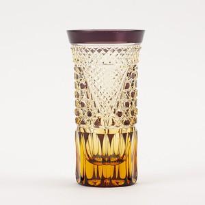 江戸切子 伝統工芸 無料包装 結婚祝 記念品 海外土産 退職祝 古希祝 琥珀色紫被せ クリスタルビールグラス 冷酒グラス
