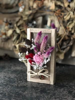植物の標本!!ドライフラワーウッドプレート ピンク&レッド