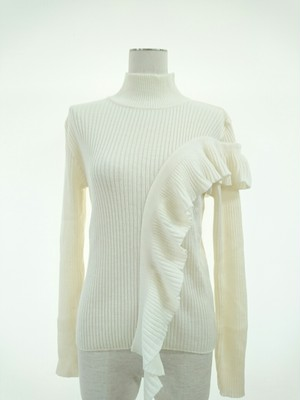 frill bottle neck knit/tap roots