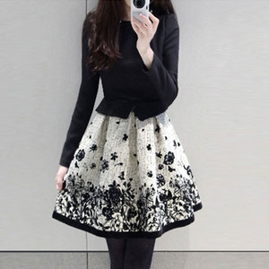 【dress】Fake two-pieces print patchwork date dress
