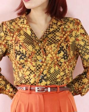 ♡ motif brown leather belt