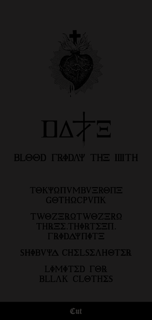 "DALLE / 黒服限定ONEMAN GIG [ 3月13日(fri) ""BLOOD FRIDAY THE 13TH"" picture ticket ] at 渋谷Chelsea hotel"