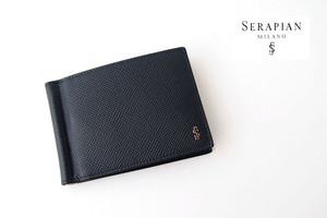 セラピアンミラノ|Serapian |マネークリップ付き6カードビルフォールドウォレット|エヴォリューション|ネイビー