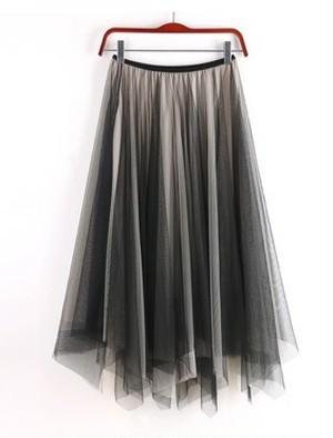 3516. チュールスカート ミモレ丈 不規則裾フレア 裏地付きダブルチュール 黒+アプリコット