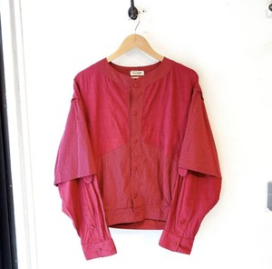 """TETE HOMME"" red cotton layered design collarless jacket"