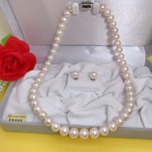 淡水真珠ネックレス8.5-9.5mm ピアスセットケース付き