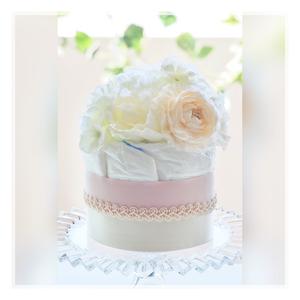 出産祝い・安産祈願に♡おむつケーキ ショートブーケ(ピンク)オムツケーキ