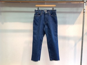 "LIVING CONCEPT""5POCKET WIDE TAPERED DENIM PANTS BIO WASH BLUE CUT OFF"""