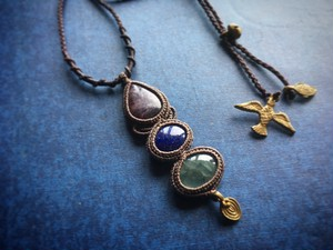 Charoite & Lapis-lazuli & Aquamarine Macrame Necklace