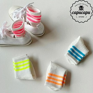 «sold out» neon color stripe socks 4set
