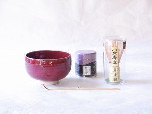 辰砂(しんしゃ)抹茶碗・茶筅・抹茶・茶杓 お手軽 初歩でも 最強セット