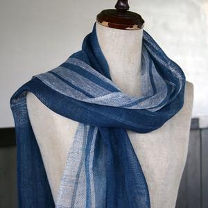 藍染め手織りリネンストール(tl81)