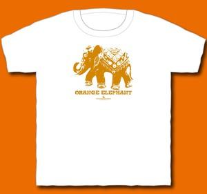 「オレンジの象」Tシャツ(ホワイト)