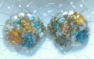 人魚姫の涙〈ゴールド〉〈シャンパンゴールド〉♥癒しアミュレット♥海オルゴナイト♥~シェル~アクアマリン*アンシェントメモリーオイル入り