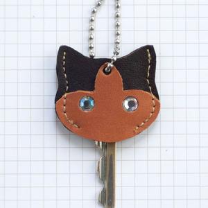 【送料無料】猫の本革キーカバーS KCS104