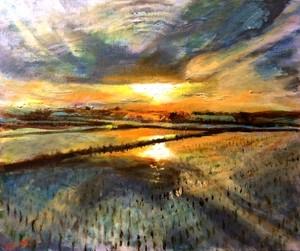 『夕景色』油絵