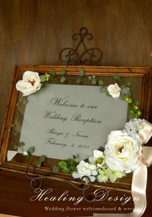 結婚式 ウェルカムボード(シャビーブラウンフレーム&モダンホワイトローズ)モダン ガーデンウェディング ウェディングボード  / 受注製作