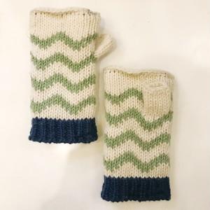 ジグザグニット手袋/ホワイト