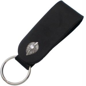 (6月)ブルームーンストーンブラック ネイディブ ハート フェザー ブラックレザー キーホルダー 誕生石*BH-022