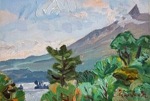 中村善策 「大沼と駒ケ岳」 油彩画 サムホール