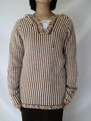stripe laceup knit hoodie【0622】