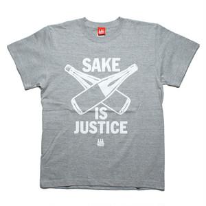 【SAKE Tシャツ】SAKE IS JUSTICE / ヘザーグレイ