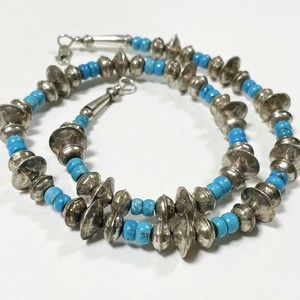 Vintage Sterling Navajo Stamped Pearl & Turquoise Beads Necklace