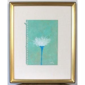 「花」 紙にアクリル * ドローイング 現代美術 アート作品 額縁 内野隆文 takafumiuchino