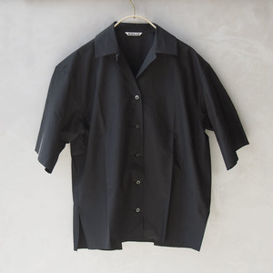 AURALEE SELVEDGE WEATHER CLOTH HALF SLEEVED SHIRTS INK BLACK