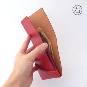 すおう染め革のミニ財布【chotof/ちょとふ】#右利き用 #草木染めレザー #手縫い