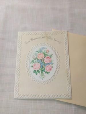 送料無料 ヴィンテージ バラとレースの絵 カード アンティーク アメリカ Hallmark