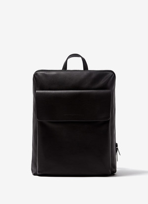 FAUX-LEATHER RECTANGULAR BACKPACK
