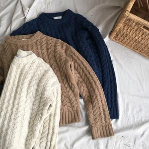 ケーブル編みニット ショートセーター 薄目インナー トップス 3色 LNTOP121601