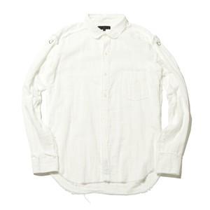 ガーゼラウンドカラーシャツ(ホワイト)