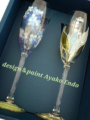 【オリジナルデザイン】シャンパングラス1つ(手描きガラス絵付け)/両親プレゼント・結婚式乾杯記念日グラス・ウェディングギフト・結婚祝い