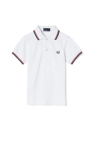 Kids Fred Perry Twin Tipped Shirt ( White / Bright Red / Navy ) キッズ フレッドペリー ポロシャツ