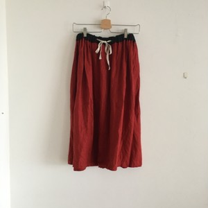 color linen gather Skirt レッド