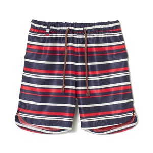 white Mountaineering / RANDOM BORDER SHANTUNG SHORT PANTS[NAVY/RED]