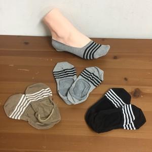 (完売御礼/炭のチカラ)綿由来の天然炭素繊維を靴下の産地奈良県の工場で編んだライン入りフットカバーソックス