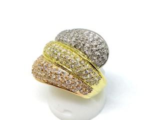 【送料無料】【仕上げ済み】K18ダイヤモンド スリーカラーリング