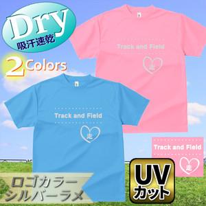 ドライTシャツ [Track & Field(ハート)パステルカラー・ラメ] 吸汗速乾 UVカット レディース